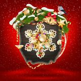 Wooden banner with Christmas Fur-tree branches. Royalty Free Stock Photo