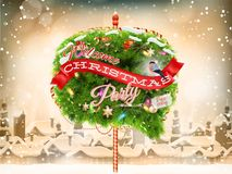 Wooden banner with Christmas Fur-tree branches. EPS 10 vector file included Stock Photography