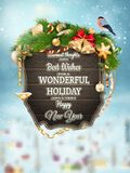 Wooden banner with Christmas Fur-tree branches. Stock Image
