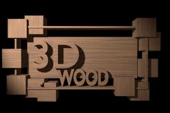 Wooden banner in a frame of wood and 3D cubes. Stock Images