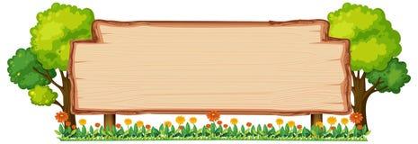 Wooden banner in nature. Illustration vector illustration