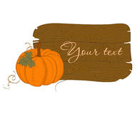 Wooden Banner with Pumpkin Royalty Free Stock Image