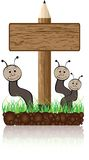 Wooden banner with worms Stock Images