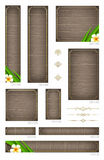 Wooden banners with tropical flowers Stock Photos