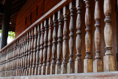 Wooden bannister of the balcony Royalty Free Stock Photos