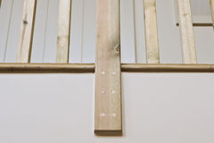 Wooden bannister. Part of a modern wooden bannister stock photo