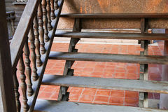 Wooden bannister of the stair Royalty Free Stock Photos