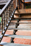 Wooden bannister of the stair Royalty Free Stock Image
