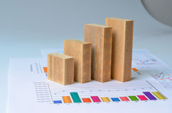 Wooden bar graph stock image