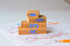 Wooden bar graph  and pencil Royalty Free Stock Photo