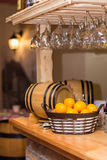 Wooden bar in a pub with a lemons in basket Stock Image