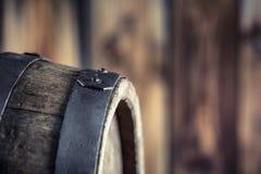 Wooden barel. Old wooden keg. Barel on beer vine whiskey brandy rum or cognac.  stock photography