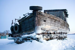 Wooden barge-02 Royalty Free Stock Image