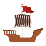 Wooden barge with red flag Royalty Free Stock Photos