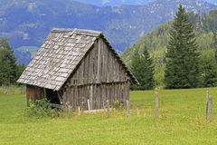 Wooden barn. In the austrian alps Stock Image
