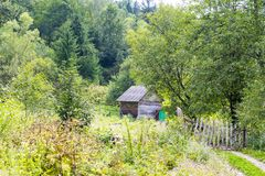 Wooden barn in Carpathians Royalty Free Stock Images