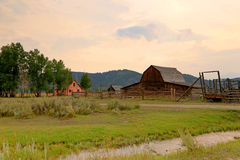 Wooden barn and corral in the Tetons. Stock Photo