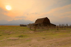 Wooden barn and corral in the Tetons. Stock Photos