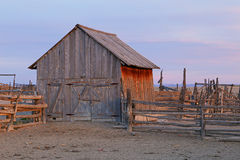 Wooden barn and corral Stock Photo