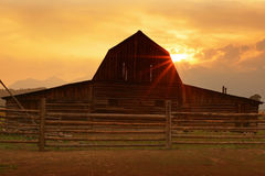 Wooden barn and corral Stock Images