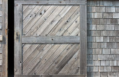 Wooden Barn Door Ajar Stock Image