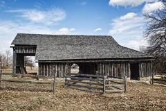 Wooden Barn with Fence Royalty Free Stock Photography