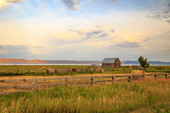 Wooden barn and fence near Bear Lake. Stock Image