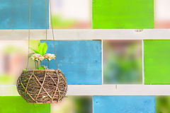 The flower hang on in front of wooden barn. Royalty Free Stock Image