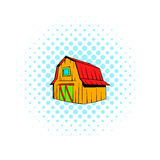 Wooden barn icon, comics style. Wooden barn icon in comics style on a white background Royalty Free Stock Photos