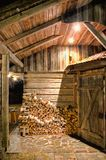 Wooden Barn at Night Stock Image