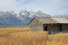 Wooden barn and Teton Range Stock Photo