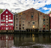 Wooden Barns on Seaside Royalty Free Stock Photos