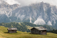 Wooden barns in Val Gardena, Dolomites Royalty Free Stock Image
