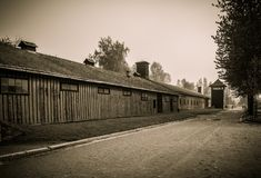 Wooden barracks camp Auschwitz I, Poland Royalty Free Stock Images