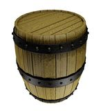 Wooden barrel. Illustration of an old wooden barrel with rusty metallic bands. Isolated on white background Royalty Free Stock Photography