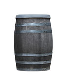Wooden Barrel. Old wooden barrel with metal rings isolated on white royalty free stock photography