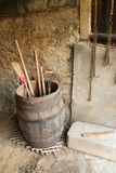 Wooden barrel. Very old wooden barrel with tools inside Stock Image