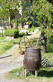 wooden barrel in ameadow Stock Photography