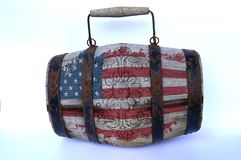 Wooden barrel with the American flag royalty free stock image
