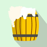 Wooden barrel of beer with froth icon, flat style vector illustration