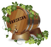 Wooden barrel of beer. hops Stock Image