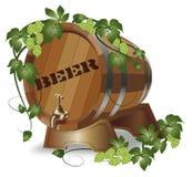 Wooden barrel of beer. hops. Wooden barrel of beer with hops branch vector illustration