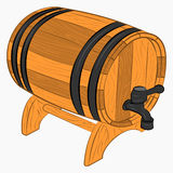 Wooden barrel of beer. With a tap cartoon icon Stock Images