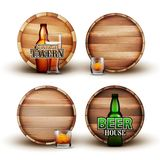 Wooden Barrel With Bottle And Glass Set Vector. Collection Of Different Element Brown Barrel, Color Flask And Cap With Alcoholic Drink For Advertising Poster royalty free illustration