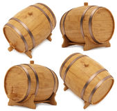 Wooden barrel, cask or tun. 3D illustration  on a white background Royalty Free Stock Photo