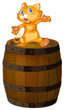 A wooden barrel with a cat. Illustration of a wooden barrel with a cat on a white background royalty free illustration