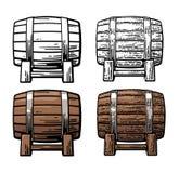 Wooden barrel. Color and black vintage engraving and flat illustration vector illustration