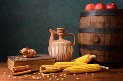 Wooden barrel and corn Stock Photos