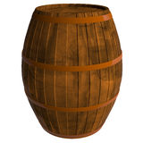 Wooden barrel, 3D. Wooden barrel isolated on white background, 3D Stock Image