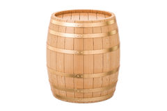 Wooden barrel, 3D rendering. Isolated on white background Stock Image